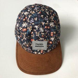Floral Baseball Cap Tan Navy Adjustable
